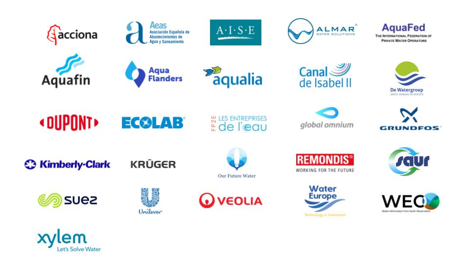 Logos des 26 signataires de l'appel à l4union européenne à promouvoir l'accès à l'assainissement pour tous.